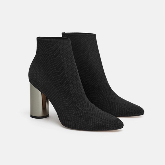 c492e5f4c12 NWT Zara Fabric Ankle Boots with Metallic Heel NWT